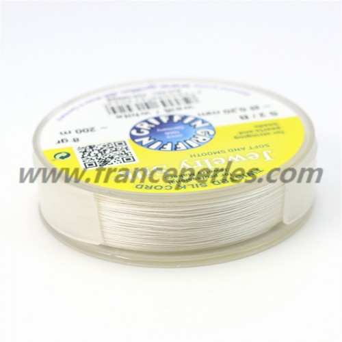 Silk bead cord 0.20mm white x 200m