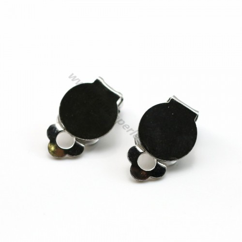 Ear clips with pad silver tone x 10mm x 4pcs