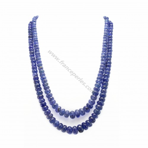 Collier tanzanite rondelle facette 2rangs