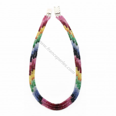Necklace ruby sapphire emerald slice facet 3 strands 3-4mm