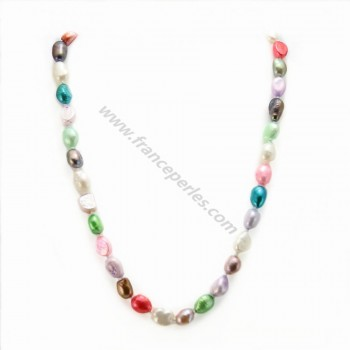 Simple Tinted Multicolor Freshwater Pearl Necklace