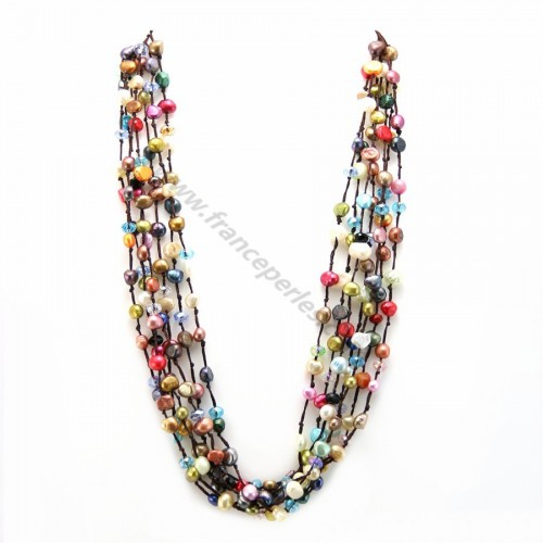 Freshwater Pearl multicolor necklace 7 rangs