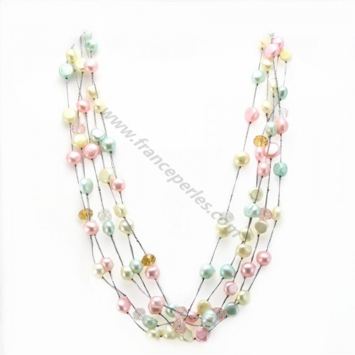 Necklace blue freshwater pearl pink 5 rows