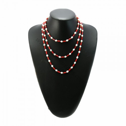 Long necklace bamboo Red Sea and pearl of fresh water