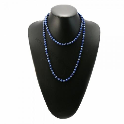 Long necklace lapis lazuli 6mm 100cm