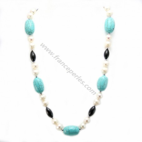 Necklace in pearls of fresh water agate black and turquoise blue reconstituted