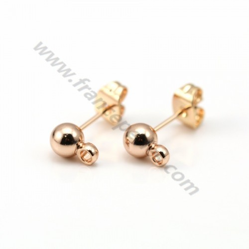"Clous d'oreilles boule plaqué ""flash"" or 5mm x 2pcs"