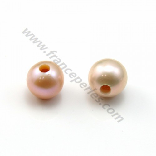 Purplish pink round freshwater pearl with large drilling 7.5-8.5mm x 1pc