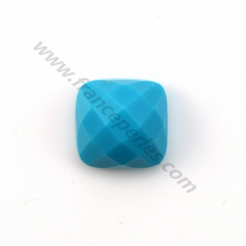 Cabochon turquoise reconstituted faceted square 10mm x 1pc