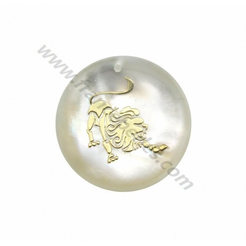 Pendant Taurus mother of pearl 20mm x 1pc