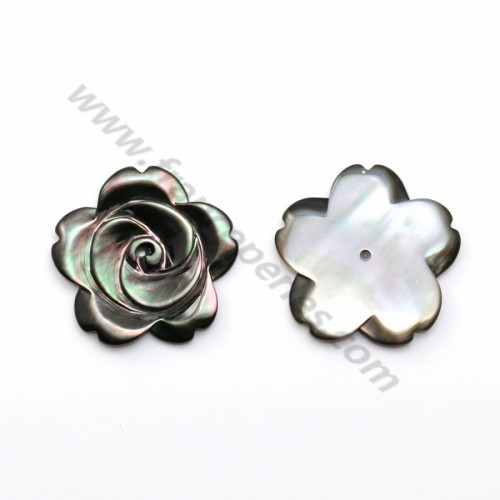 Gray half-driled mother-of-pearl flower 20mm x 1pc