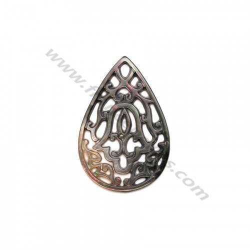 Gray mother-of-pearl in drop shape with openwork 22x32mm x 1pc