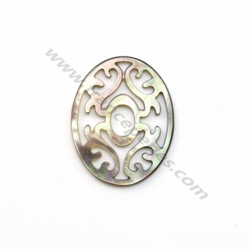 Gray oval mother-of-pearl with openwork 24x30mm x 1pc