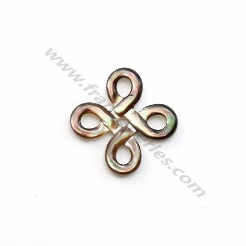 Gray mother-of-pearl chinese knot 15mm x 1pc