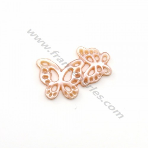 Pink mother-of-pearl butterfly couple 13x18mm x 1pc
