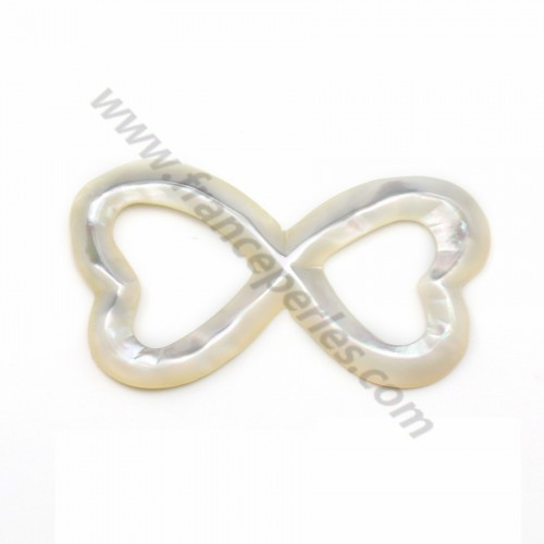 White mother-of-pearl double heart 18x35mm x 1pc