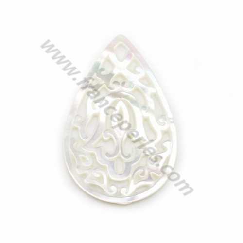 White mother-of-pearl in drop shape with openwork 22x32mm x 1pc
