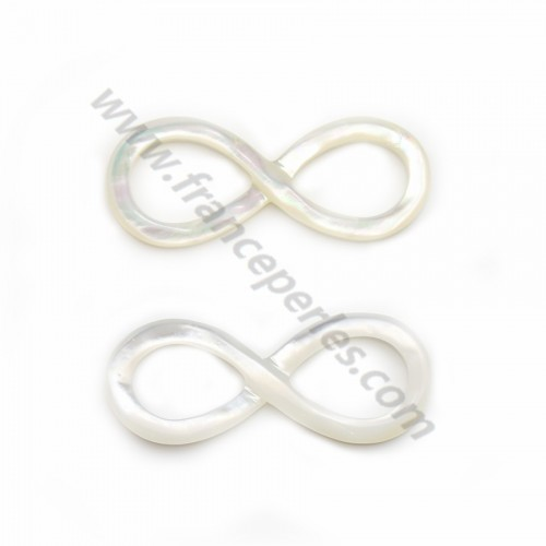 White mother-of-pearl infinity symbol 5x15mm x 1pc