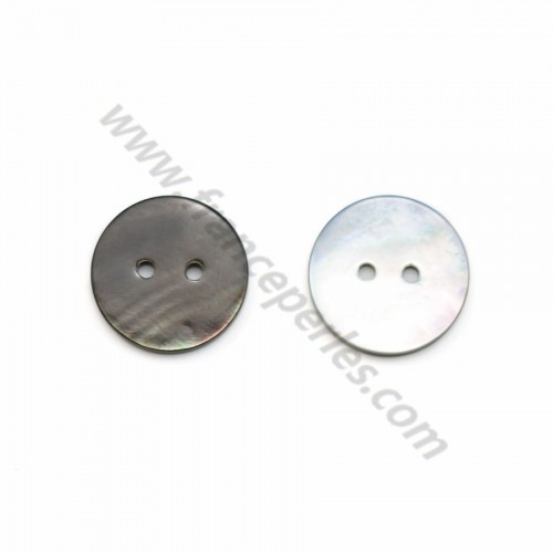 Gray mother-of-pearl round button 2x20mm x 1pc