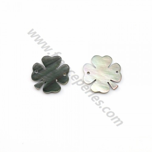 Gray mother-of-pearl four-leaf clover 13mm x 1pc