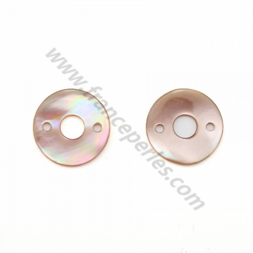Pink mother-of-pearl doughnut button 2x20mm x 1pc