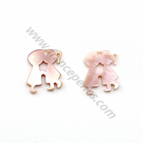 Pink mother-of-pearl kissing couple 14x16mm x 1pc