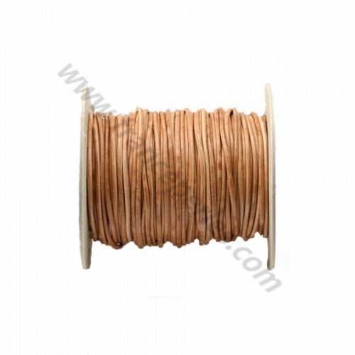 Natural rounded buffalo leather cord 2mm x 1m