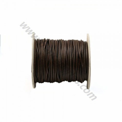 Black rounded buffalo leather cord 2mm x 1m