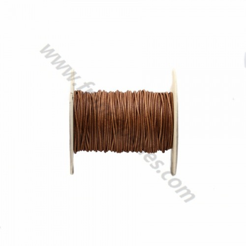 Brown rounded buffalo leather cord 1.6mm x 1m