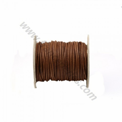 Brown rounded buffalo leather cord 2mm x 1m