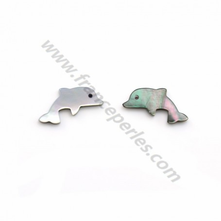 Gray mother-of-pearl dolphin 8x15mm x 2pcs
