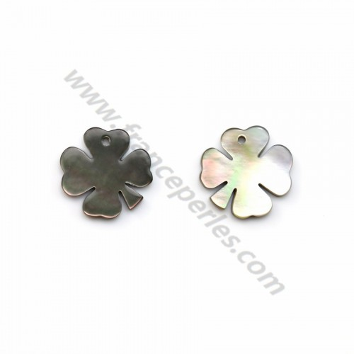 Gray mother-of-pearl four-leaf clover 10mm x 1pc