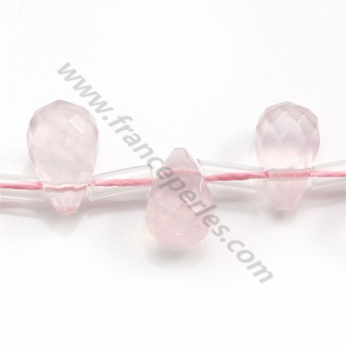 Rose quartz  teardrop facet 6x8mm x 40cm