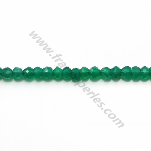 Green agate faceted washer  2.80*4.10mm x 34cm