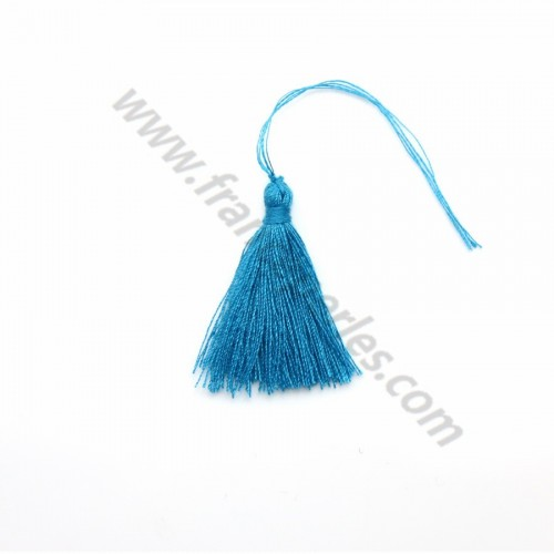 Blue pompon in cotton 30mm x 1pc