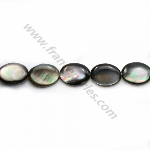 Gray mother-of-pearl bulged oval beads on thread 10x14mm x 40cm