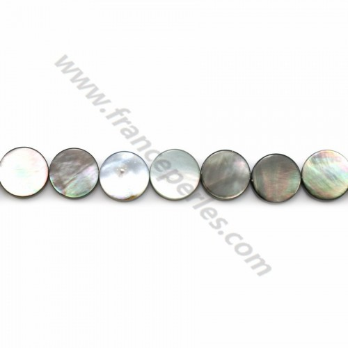 Gray mother-of-pearl flat round beads on thread 10mm x 40cm