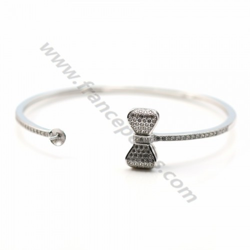 Rhodium 925 sterling silver and zirconium 58mm flexible bangle for half-driled beads x 1pc