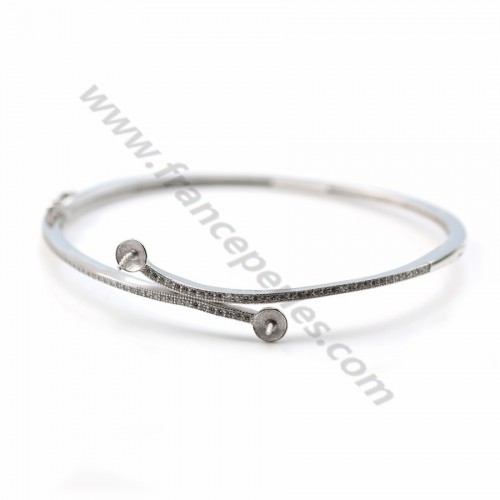 Rhodium 925 sterling silver 60mm bangle for half-driled beads x 1pc