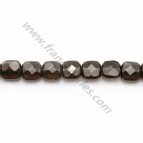 Smoky quartz faceted rectangle 6mm X 40cm