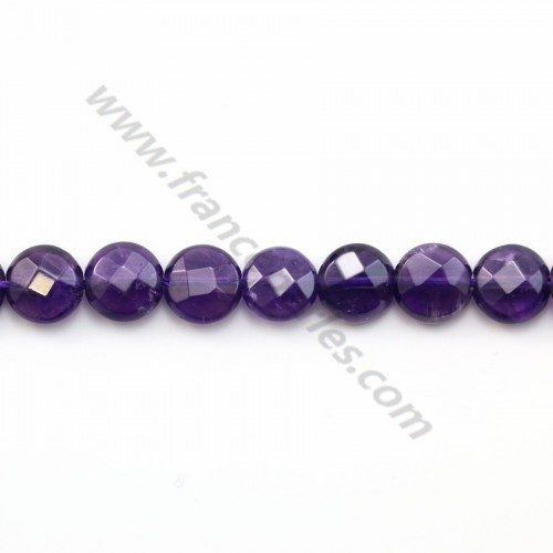 Amethyst faceted flat round 8mm x 40cm