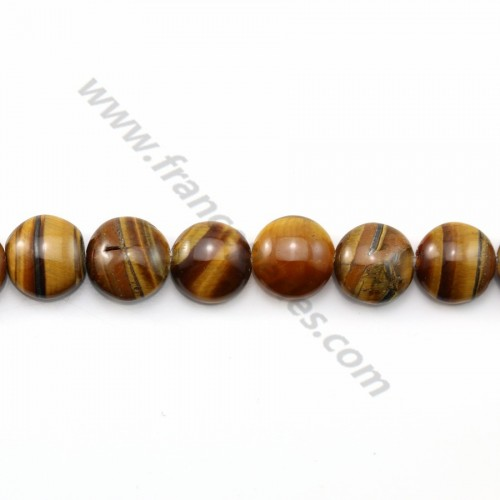 Yellow tiger eye flat round 10mm x 40cm