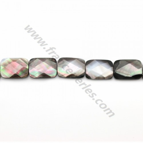Gray mother-of-pearl faceted rectangle beads on thread 10x14mm x 40cm