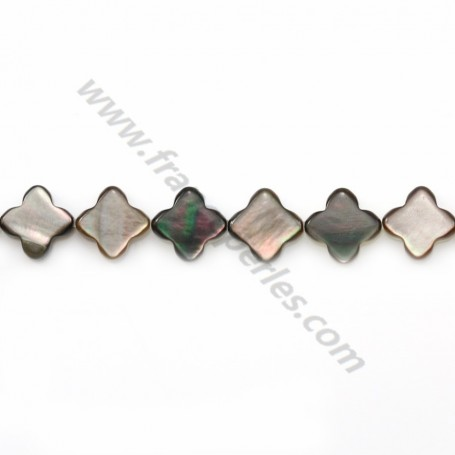 Gray mother-of-pearl clover beads on thread 6mm x 40cm