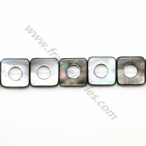 Gray mother-of-pearl hollow square beads on thread 18mm x 40cm