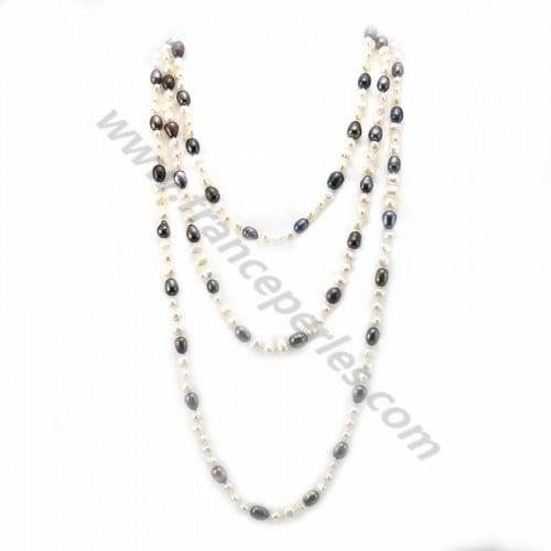 Sautoir perle d'eau douce baroque blanc 160cm