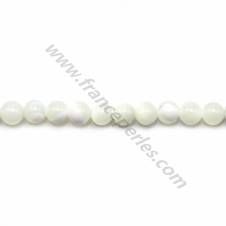 White mother-of-pearl round beads on thread 4mm x 40cm