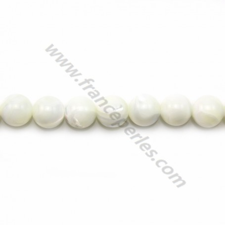 White mother-of-pearl round beads 10mm x 40cm