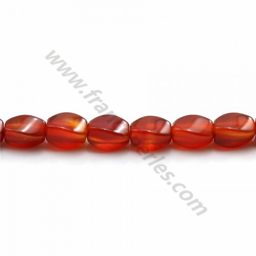 Agate rouge ovale torsadé 5.5*7.5mm x 10pcs