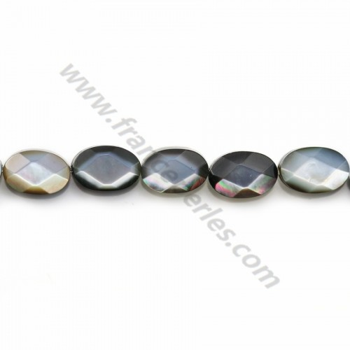 Gray mother-of-pearl faceted oval beads on thread 6x8mm x 40cm